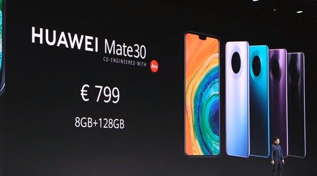 HUAWEI Mate30系列正式发布:后置四摄,799欧元起